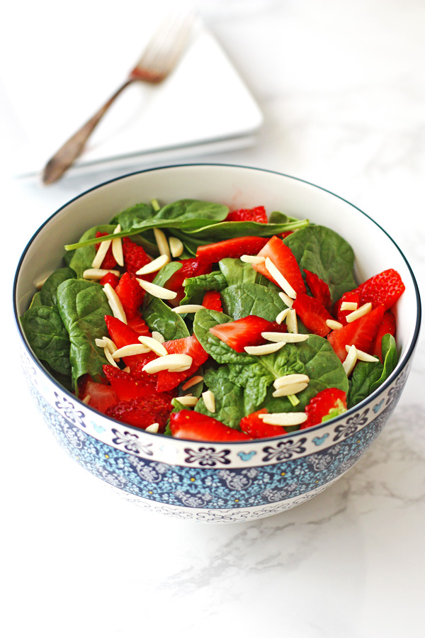 Strawberry Spinach Salad is perfect for using up those fresh strawberries!