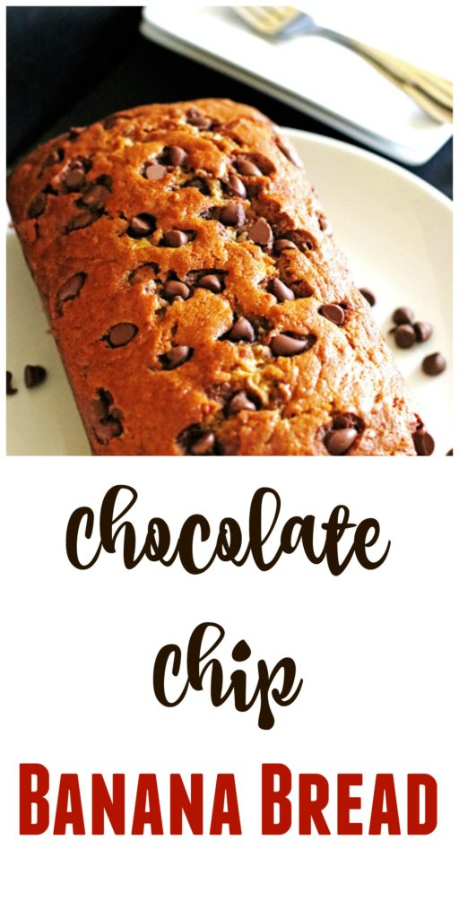 This Chocolate Chip Banana Bread is moist and delicious from the banana and extra sweet from the chocolate chips.