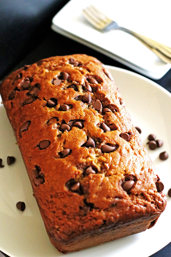 This Chocolate Chip Banana Bread is moist from the bananas and extra sweet from the chocolate chips.