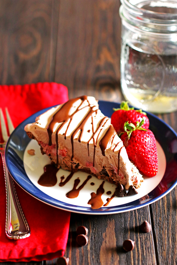 This Chocolate and Strawberry Ice Cream Pie is delicious and creamy.