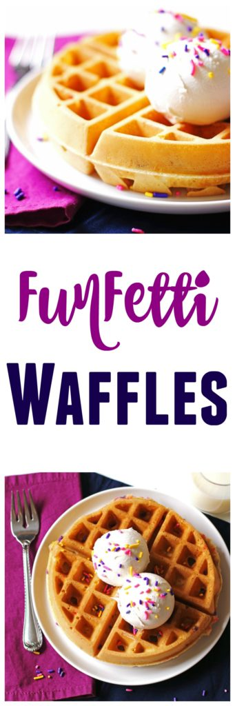 These delicious Funfetti Waffles are so easy to make.